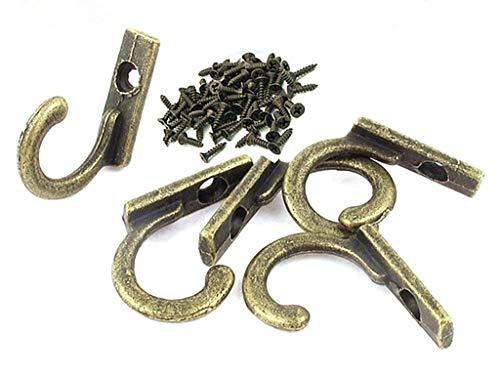 - ALIMITOPIA 20pcs Metal Hook with 20pcs Screw,Mini Size Antique Bronze Tone Door Wall Mounted Hook Hanger