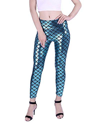 HDE Women's Shiny Liquid Metallic Fish Scale High Waist Mermaid Stretch Leggings (Teal, (Sea Creature Costume)