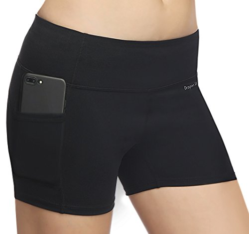Dragon Fit High Waist Out Pockets Yoga Shorts Power Flex Tummy Control Workout Running Yoga Shorts 4 Way Stretch - Natural Waist Pocket