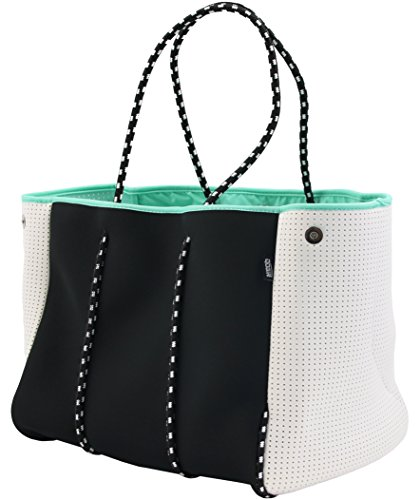 QOGiR Neoprene Multipurpose Beach Bag Tote with Inner Zipper Pocket and Movable Board (Black, X-large)