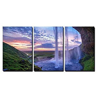3 Piece Canvas Wall Art - Seljalandfoss Waterfall at Sunset, Iceland Horizontal Shot - Modern Home Art Stretched and Framed Ready to Hang - 16
