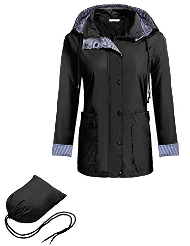Zeagoo Women Sportswear Waterproof Jacket Outdoor Raincoat Hooded Packable Black M