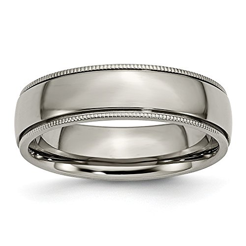 Jewelry Stores Network Mens 6mm Polished Titanium Grooved and Beaded Edge Wedding Band Ring