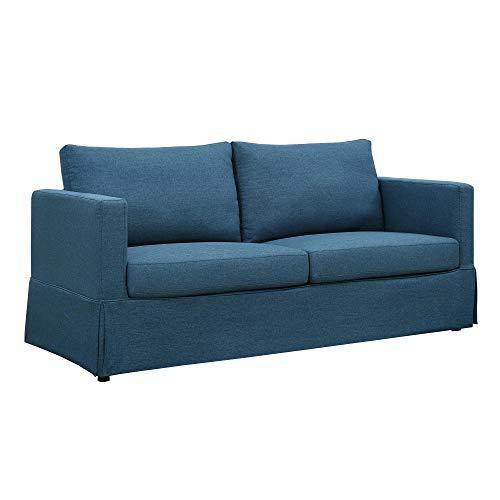 Dorel Living Tyson Skirted, Navy Blue Slipcover Sofa, (Stool Skirted)