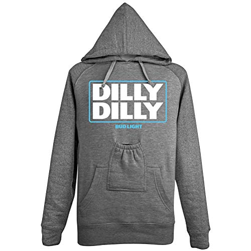 Brew City Promotions Bud Light Dilly Dilly Shirts - Beer Pouch Hooded Sweatshirt - XL Gray
