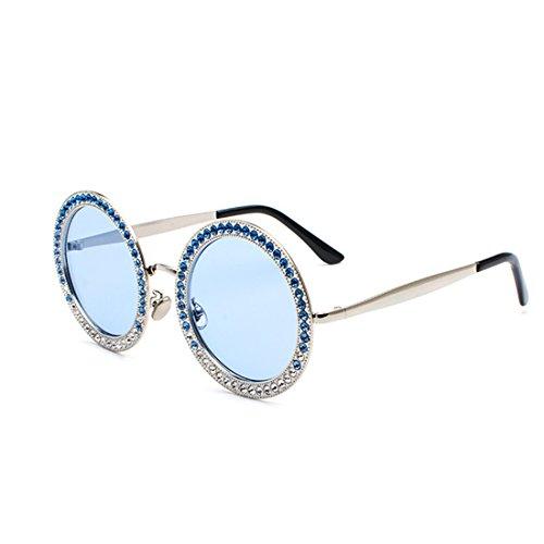métal polycarbonate soleil lunettes MUCHAO Argent Mesdames Lens Bleu rondes en en cadre de strass TnZ6A0