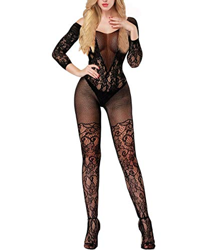 Buitifo Womens Fishnet Bodystocking Plus Size Crotchless Bodysuit Sexy Tights (Black 3) ()