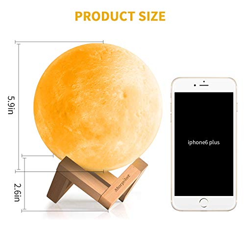Keenstone Moon Lamp,3D Moon lamp 16 Colors Moon Light 5.9 Inches Lamps Home Decorative Romantic with Remote & Touch Control and USB Recharge for Baby Kids Lover Birthday Gifts (Black)