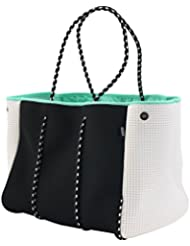QOGiR Neoprene Multipurpose Beach Bag Tote with Inner Zipper Pocket and Movable Board