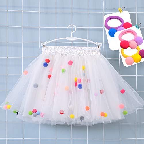 Bingoshine 4 Layers Soft Tulle Puff Ball Girls Tutu Skirts with Silky Lining (White, -
