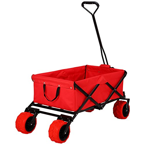 Garden Utility Cart With Wheels : Ollieroo outdoor utility wagon folding collapsible garden