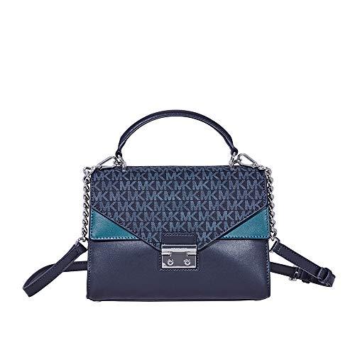michael kors satchel blue | Michael Kors Sloan Medium Leather Satchel - Heritage Blue/Multi