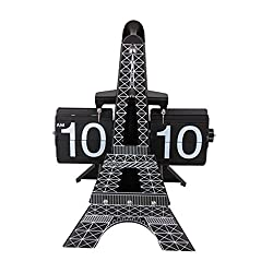 Homyl Modern Stylish Eiffel Tower Shaped Retro Flip Down Desk Clock for Office Bedroom Home Decoration Black