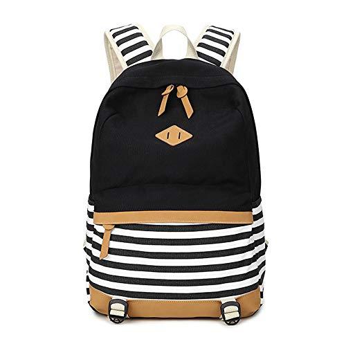 Chihom School Bacpack Lightweight Canvas Laptop Backpacks for Men Women Daypacks Stripe Rucksack Bookbags Black]()