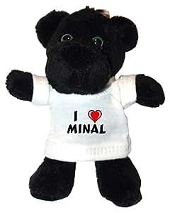 Pantera negro de peluche (llavero) con Amo Minal en la camiseta (nombre de pila/apellido/apodo)
