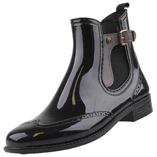 Gosch Shoes Sylt - Femmes Chelsea Bottes en caoutchouc Caoutchouc naturel 7103-502 en 3 couleurs noir-gris
