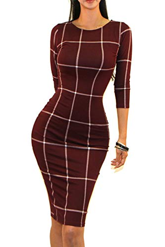 Vivicastle Women's Wear to Work Business 3/4 SLV Bodycon Pencil Dress (Medium, AW48, Wine/Ivy)