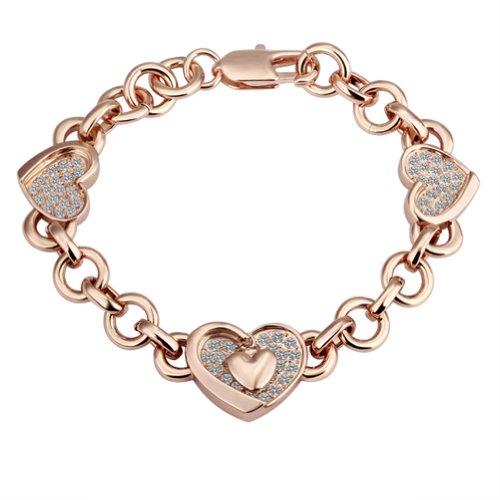 Gold Plated Bracelet Health Heart Jewelry Rhinestone Austrian Crystal