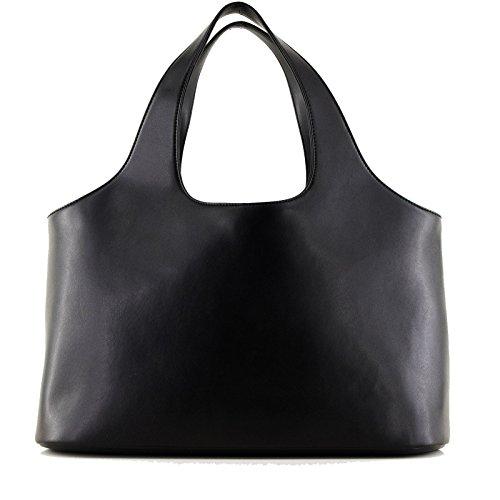 ROUVEN Nero SAGA BOX Bucket Tote Borsa shopper signore borsa a tracolla borsa di cuoio nobile minimalista chic moderno (42x25x15cm)