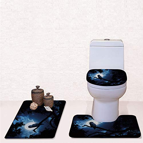 Comfort Flannel 3 Pcs Bath Rug Set,Contour Mat Toilet Seat Cover,Quiet Night in The Woods Full Moon Tall Trees and Owl on Branch Tranquil Scene Decorative with Black Blue White,Decorate Bathroom,entr