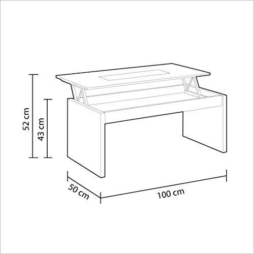 13Casa Col: Bianco Tavolino Mat: Melamina. Trasparente Dim: 102x50x43 h cm Delfi C1