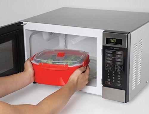 Sistema Vaporera grande de microondas de plástico rojo, 23.9 x ...