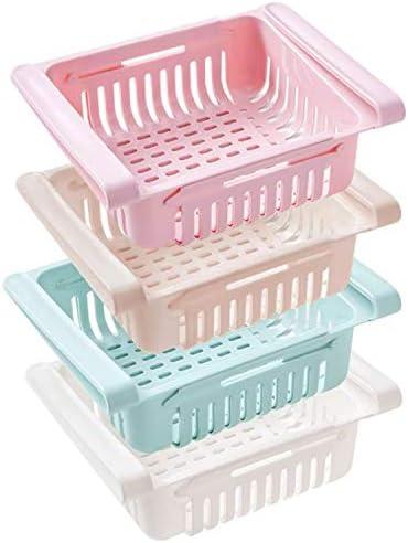 Newthinking Küchen-/Kühlschrank-Organizer, verstellbare Kühlschrank-Schublade, platzsparendes Regal für Gemüse und Obst (4 Stück)