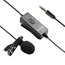 Movo LV10 Battery-Powered Lavalier Clip-on Omnidirectional Condenser TRRS Microphone for Apple iPhone, iPad, iPod and Samsung Galaxy Smartphones, Cameras, Camcorders, Recorders