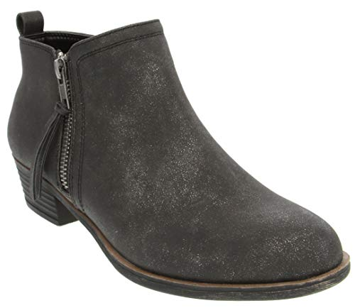 Rampage Women's Tarragon Ankle Bootie Black Metallic