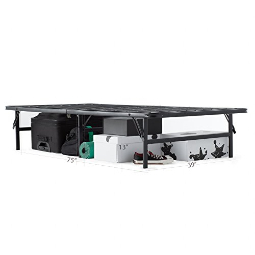 MALOUF STRUCTURES HIGHRISE Folding Metal Bed Frame 13 Inch High Bi-Fold Platform Bed Base and Box Spring - bedroomdesign.us