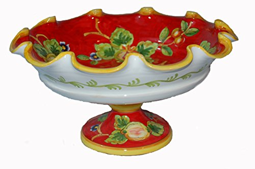 Frutta Rossa Hand Painted Italian Ceramic Scalloped Fruit Bowl with Pedestal Made in Italy