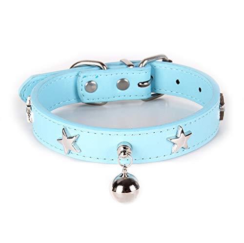 12' Dog Leash Camo - Aokarry Pet Dog Alloy PU Leather Basic Collars Star Bell Pentand Sky Blue-L