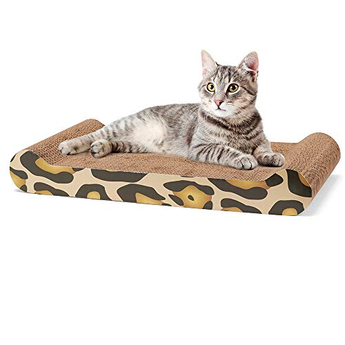 (Delxo Cat Scratcher Durable Reversible Cat Scratching Pad Recycled Harden Corrugated Cardboard Sturdy Eco-Friendly Design Maintain Healthy Cat Claws and Protect Furniture Catnip (Cat Pad))