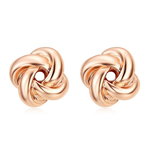 Womens Love Knot Stud Earrings 18K Rose Gold Twisted Ear Cuff Studs Fancy Design Two Tone Fashion Jewelry, Best Gifts Idea (Rose gold)