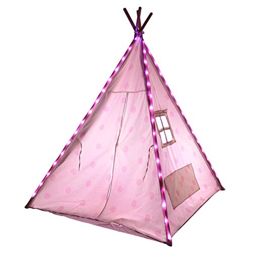 Kids Teepee Lights, Use With Most 4 Pole Tents, Great Bedroom Tent Accessory, Light Up Their Room or TP, Great Accessories for Reading Neat Installation You Only See When the Pink Fairy Lights are On