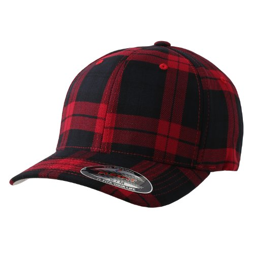 Flexfit Fitted Tartan Plaid Hat 6197, (Black/Red - L/XL)
