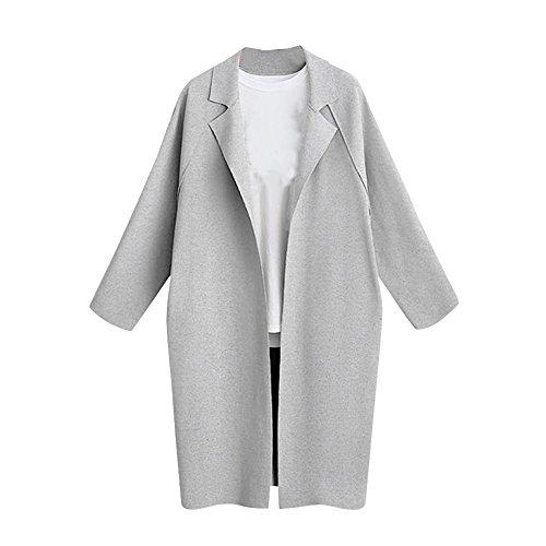 Gris Manteau Cardigan Femme Veste Longue Coat Pardessus Vestes Trench Manteau xCF6xwzg