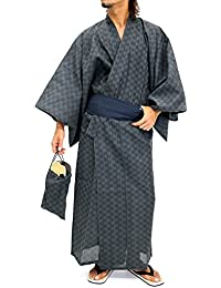 Mens Yukata Set Kimono with OBI and Setta Spa Robe Japanese
