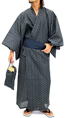 Ponto Men's Yukata Set Kimono with Obi and Setta Spa Robe Japanese (Large, A) by Ponto