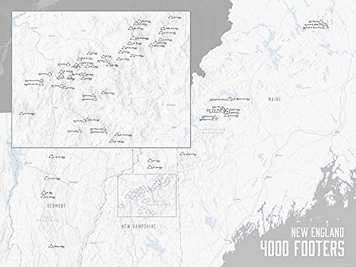 Amazon.com: Best Maps Ever New England 4000 Footers Map 18x24 Poster ...