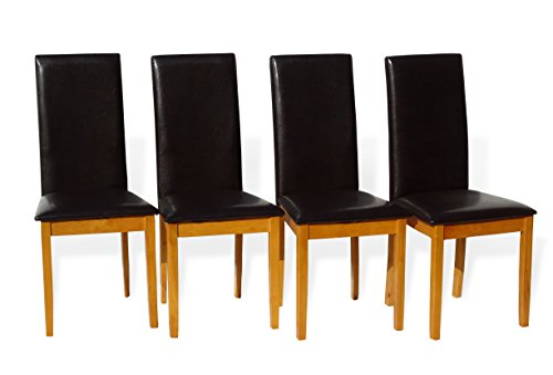 Fallabella Natural Solid Wood Kitchen Dining Room Padded Chair Maple Finish Set of 4