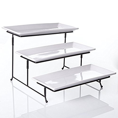 Graciousi Dining Three-Tier Rectangular Plate Set, White And Black -