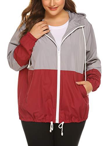 IN'VOLAND Women's Plus Size Raincoat Rain Jacket Lightweight Waterproof Coat Jacket Windbreaker with Hood Wine Red