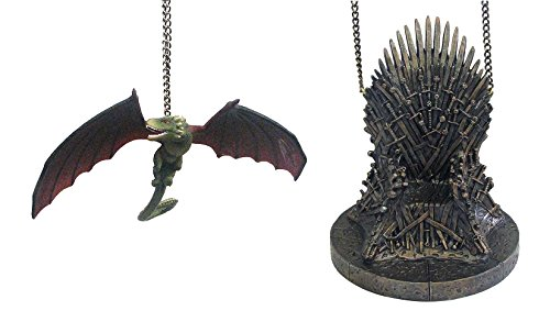 Kurt Adler Game of Thrones Dragon And Throne Ornaments (set of 2)