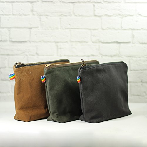 Waxed Canvas Bag with Brass Zipper comes in Assorted Colors by RainbowBee