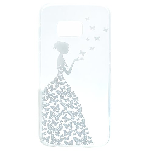 Funda Samsung Galaxy S6 Edge, EUWLY Samsung Galaxy S6 Edge Carcasa Transparente Silicona TPU Bumper Case Shock-Absorción Anti-Arañazos Anti-Choques Back Cover Protectora Funda Ultra Slim Crystal Claro Chica Mariposa