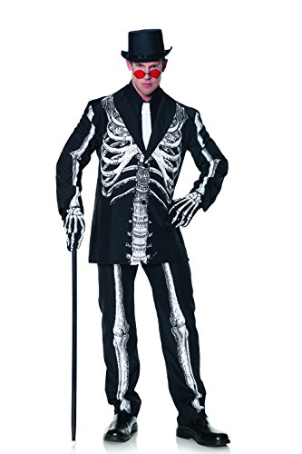 Dead Gangster Halloween Costumes (Underwraps Men's Plus-Size Bone Daddy Skeleton Suit Costume, Black & White,)