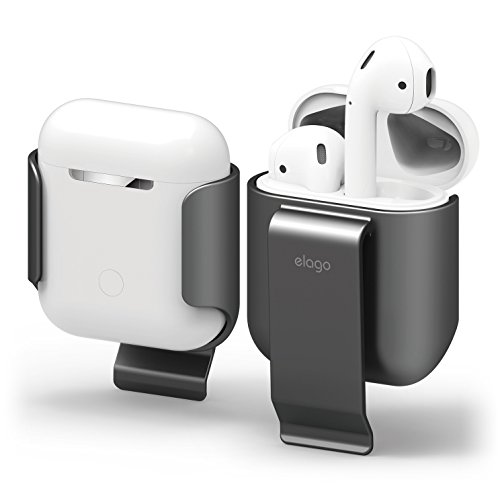 elago AirPods Belt Clip [Metallic Dark Grey] - [Compatible with Apple AirPods 1 & 2][Convenient Portability][Protection][Soft Feel Coating] – for AirPods 2 and 1