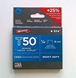 Arrow Fastener T50 6Mm 1/4Inch Heavy Duty Staples Box Of 1250 #504