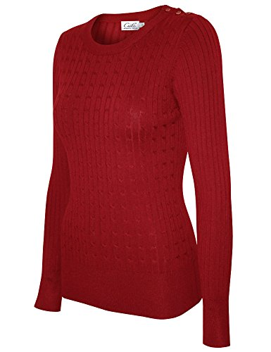 Red Pullover Sweater - Cielo Women's Basic Solid Stretch Crewneck Cable Knit Pullover Sweater Red XL